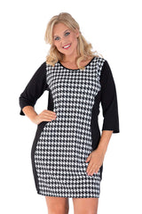 2024 Black Dogtooth Hourglass Dress