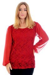 Chiffon Sleeve Lace Top
