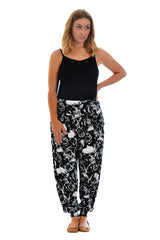 7061 Black Skull and Roses Ali baba Trousers