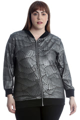 Metallic Feather Embossed Bomber Jacket