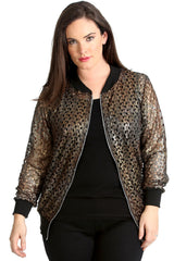 Crochet Lace Bomber Jacket