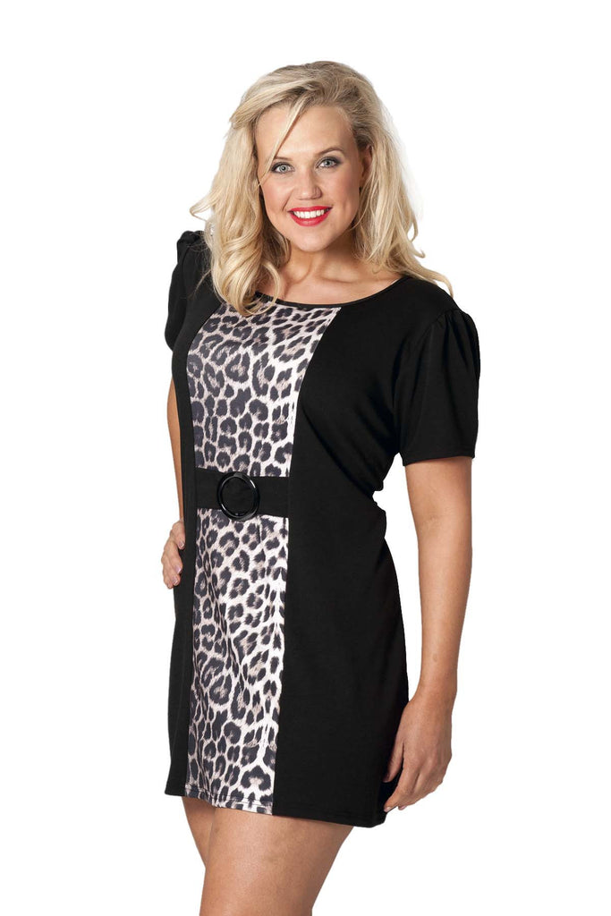 Ponte Panelled Leopard Print Tunic
