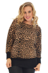 1235 Brown Leopard Batwing Top