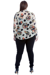 Front Tie Floral Polka Dot Top