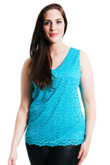 1278 Turquoise Floral Lace Tank Top