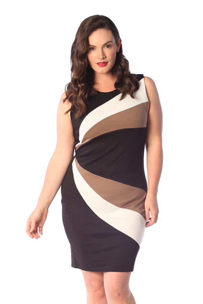2169 Mocha Sleeveless Curve Panel Bodycon Dress