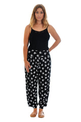 7060 Black Pirate Skull Print Ali baba Trousers