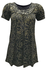 1454 Gold Glitter Bold Floral Smock Top