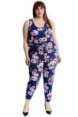 Floral Print Cuffed Jumpsuit