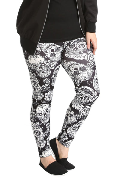 Sugar Skull Print Leggings