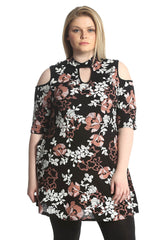 2216 Black Cold Shoulder Floral Print Dress