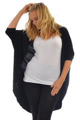 1261 Black Open Front Batwing Cardigan