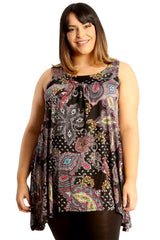 Paisley Print Sleeveless Top