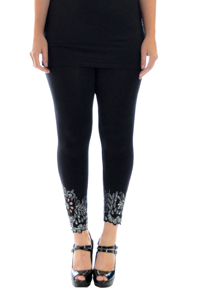 7080 Black Floral Laser Cut Leggings