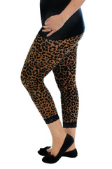 7043 Brown Leopard Lace Trim Leggings