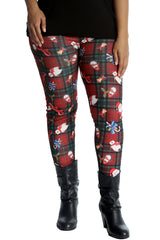 Tartan Santa Candy Print Leggings