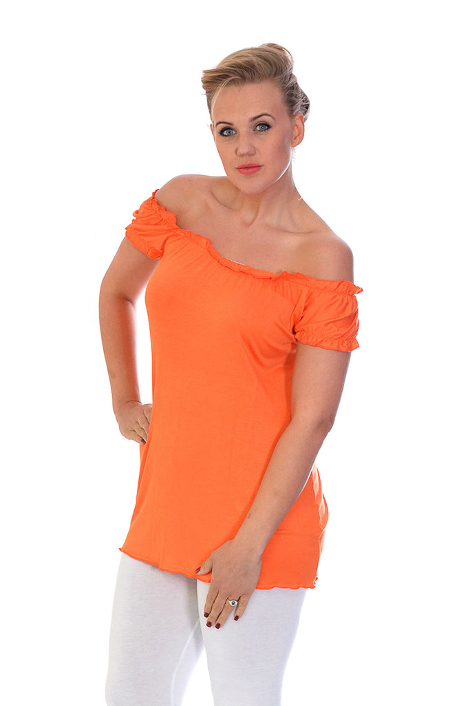 1068 Orange Plain Gypsy Top