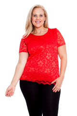 1300 Red Scallop Lace Top