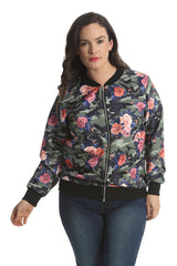 3176 Peach Foral Print Bomber Jacket