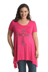 1410 Cerise Studded Crown Cross A Line Top