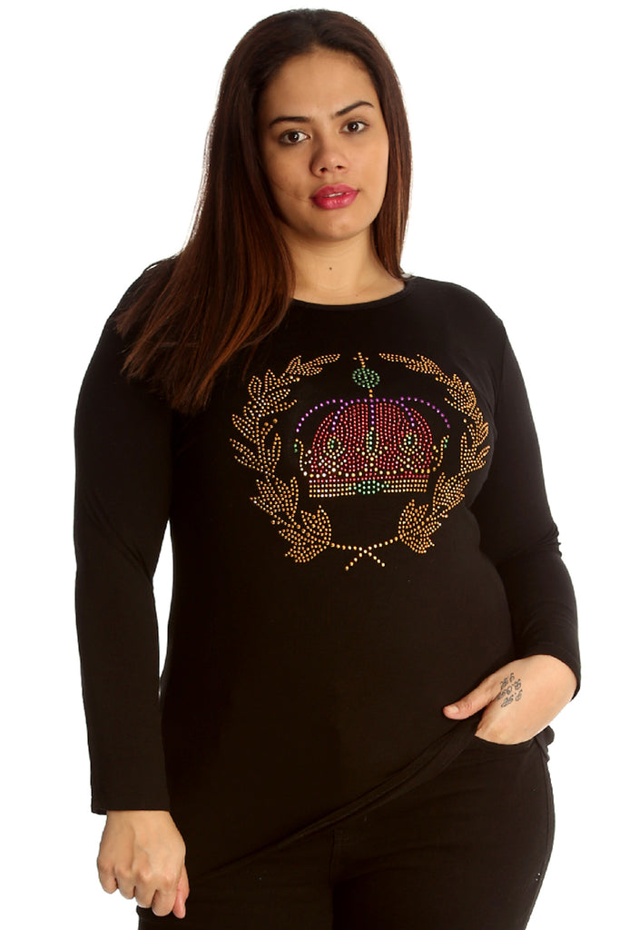 1521 Black Crown Stud Long Sleeve T Shirt