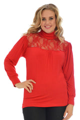 1231 Red Lace Trim Polo Neck Top