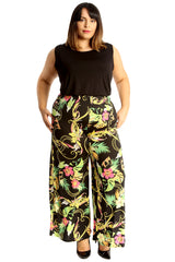 Multi Colour Paisley Print Palazzo Trousers