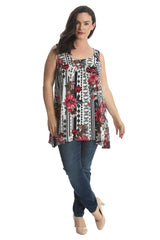 Lace Feather Print Sleeveless Tunic