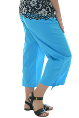 6059 Turquoise Cropped Cotton Trouser