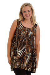 1175 Brown Sleeveless Sequin Tiger Print Top