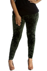 7137 Khaki Full Length Velvet Leggings