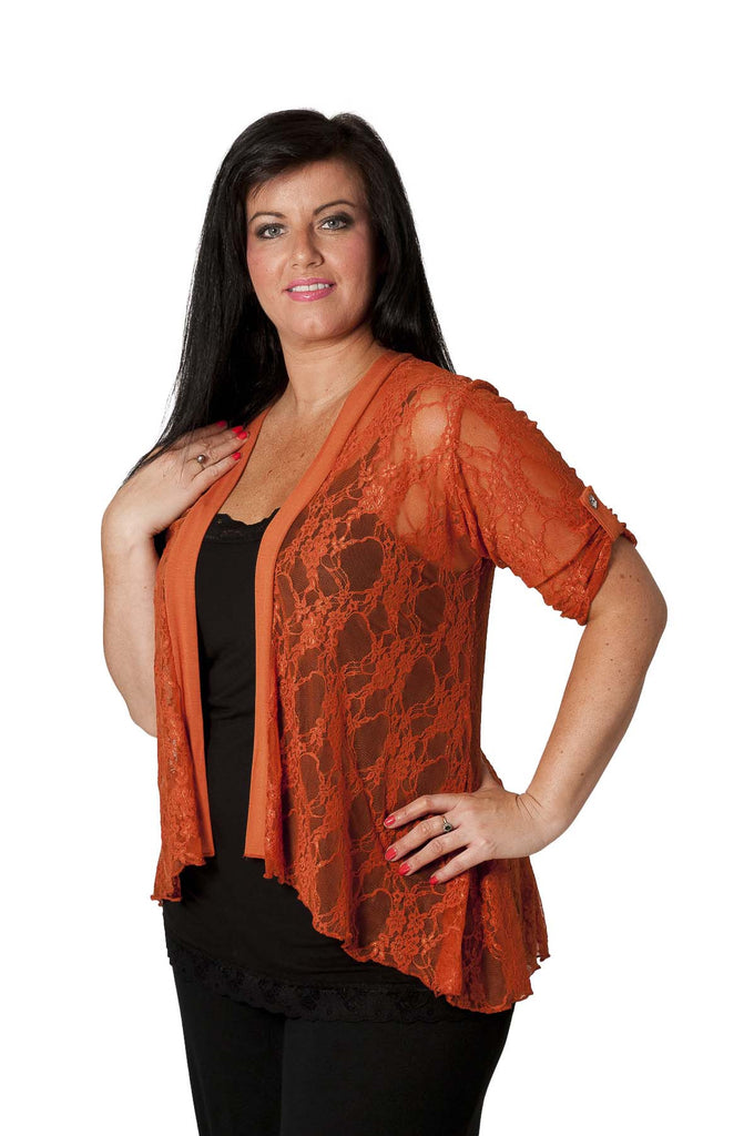 3002 Rust Diamonted Flower Lace Cardigan