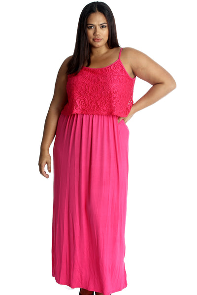 Lace Top Sleeveless Maxi Dress