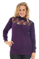 1231 Purple Lace Trim Polo Neck Top
