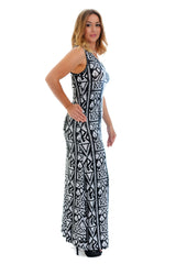 2056 Black Skulls And Roses Maxi Dress