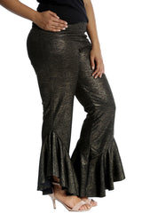 6088 Gold Foil Fabric Frill Trousers