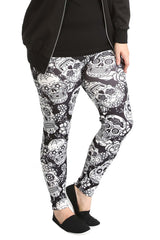 7129 White Sugar Skull Print Leggings
