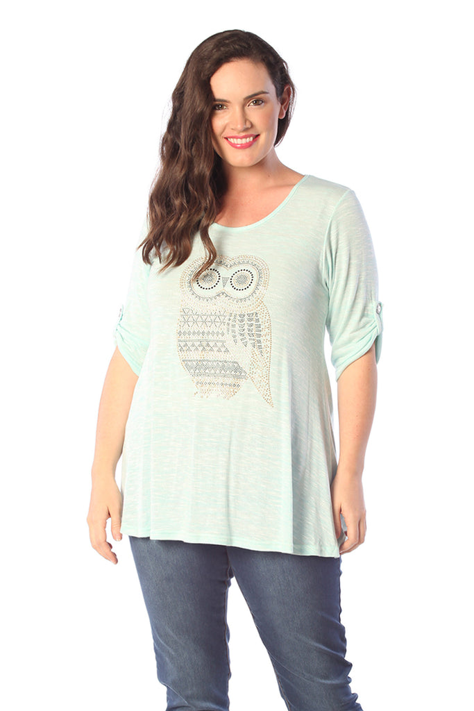 1319 Aqua Studded Owl Tunic Top