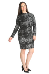 Abstract Print Lurex Midi Dress