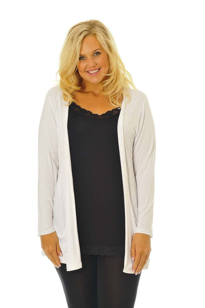 3001 White Drop Pocket Cardigan