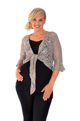 1091 Charcoal Sequin Lace Shrug