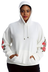 3226 Wine Ribbed Floral Sleeves Hoodie