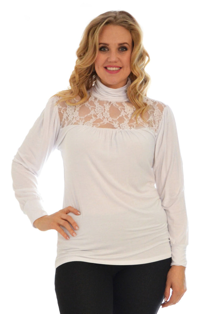 1231 White Lace Trim Polo Neck Top
