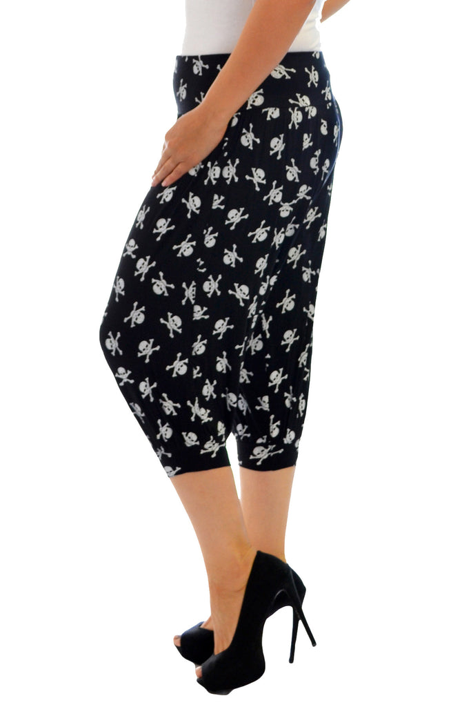 7093 Black Pirate Skull Print Ali baba Trousers