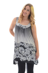 1242 Grey Flower Bed A Line Top