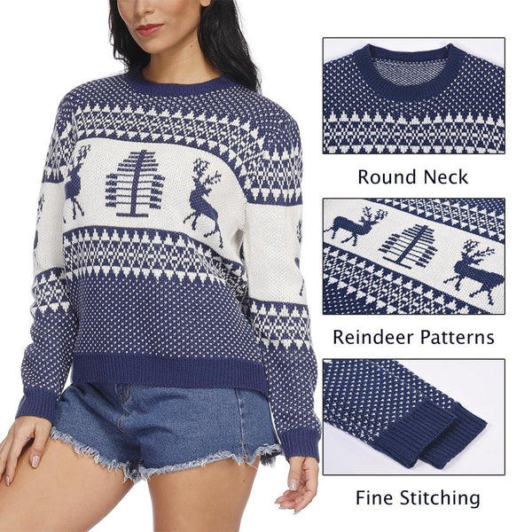 Unisex Patterns Reindeer Ugly Christmas Pullover Sweater - Exlura