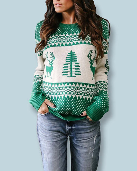 Unisex Patterns Reindeer Ugly Christmas Pullover Sweater