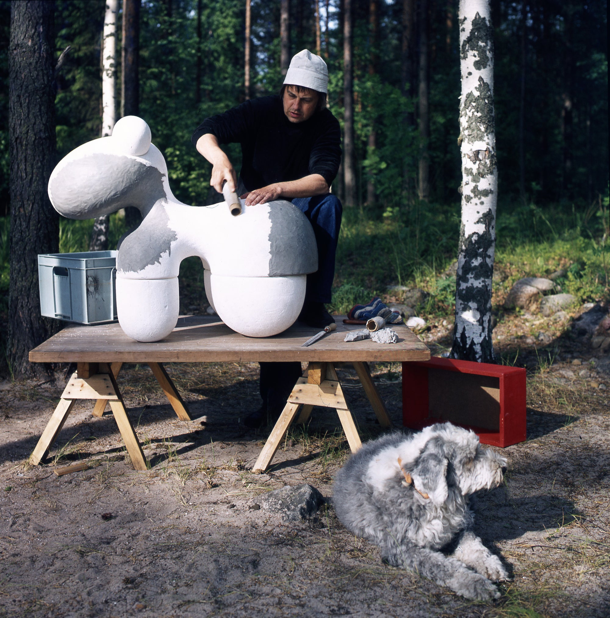 Eero Aarnio making a prototype of the Pony