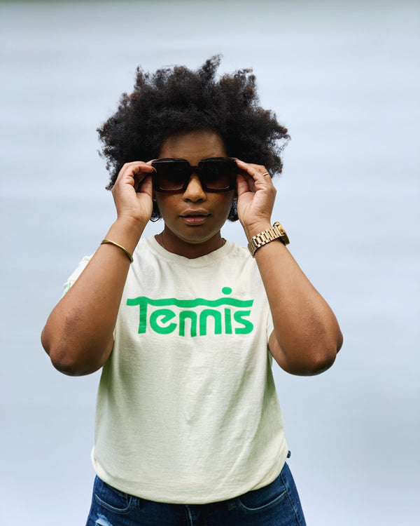 Tennis Tee (UNISEX)- Natural w Green