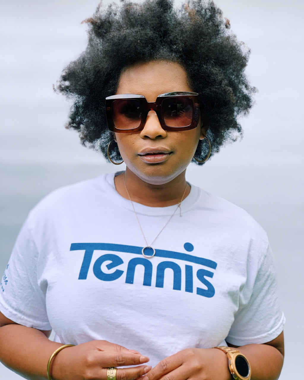 Tennis Tee (UNISEX)- White w Navy